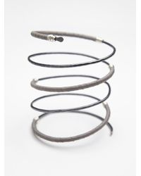 Nashelle - Gray Leather Bound Upper Arm Cuff - Lyst