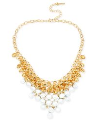 Steve Madden | Metallic Gold-tone Shaky Bead Frontal Necklace | Lyst