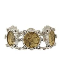 Konstantino | Metallic Silver And Bronze Coin Chain Bracelet | Lyst