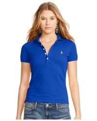Polo Ralph Lauren | Blue Fitted Stretch Polo | Lyst