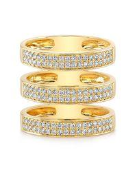 Anne Sisteron - 14kt Yellow Gold Diamond Large Triple Bar Ring - Lyst