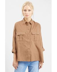 TOPSHOP | Natural Oversized Chambray Shirt | Lyst