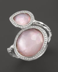 Ippolita | Sterling Silver Stella Two Stone Ring In Pink Mother-Of-Pearl Doublet With Diamonds | Lyst