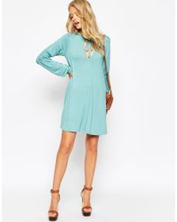 ASOS - Brown Tall Swing Dress With Shirred Sleeves - Lyst