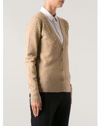 Michael Kors - Natural Studded Cardigan - Lyst