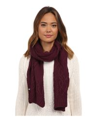 Ugg | Red Isla Lurex Cable Scarf | Lyst