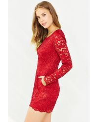 Kimchi Blue | Red Long-sleeve Lace Romper | Lyst