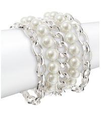Lauren by Ralph Lauren | Metallic Faux Pearl Chain Bracelet | Lyst