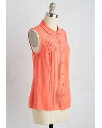 ModCloth | Orange Winsome In The Willows Top In Coral | Lyst