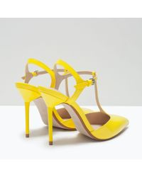 Zara | Yellow High-heel Mules With Ankle Strap | Lyst