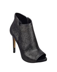 Guess - Metallic Adara Leather Peep Toe Ankle Boots - Lyst