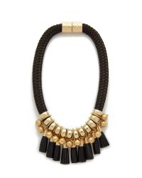 Holst + Lee - Metallic Leather Lace Necklace - Gold/black - Lyst