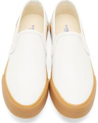 Junya Watanabe - White Leather Steer Slip_on Sneakers for Men - Lyst