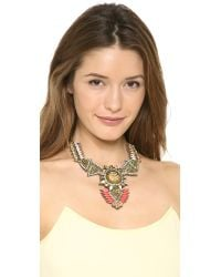 Deepa Gurnani - Orange Crystal Statement Drop Necklace Coralgold - Lyst
