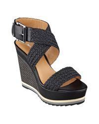 Nine West - Black Waldrid Wedge Sandals - Lyst