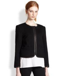 Alice + Olivia - Black Boxy Leather-Trimmed Jacket - Lyst
