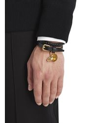 Alexander McQueen - Black Skull Embellished Leather Wrap Bracelet for Men - Lyst