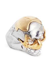 Alexander McQueen - Metallic Puzzle Skull Ring - Lyst