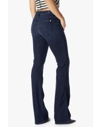 7 For All Mankind Blue Mid Rise Kimmie Bootcut In Whiskered Medium Dark