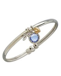 Lord & Taylor | 14k Yellow Gold Sterling Silver And Blue Topaz Charm Bracelet | Lyst