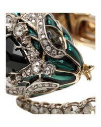 Roberto Cavalli - Green Crystal Embellished Bracelet - Lyst