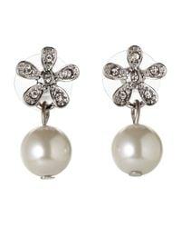 Anne Klein | Metallic Faux Pearl Floral Earrings | Lyst