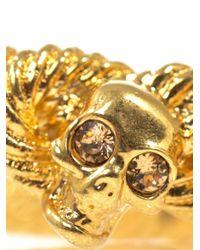 Alexander McQueen - Metallic Rope And Skull Bracelet - Lyst