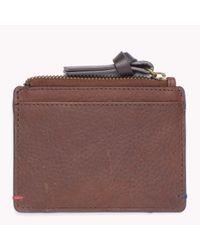 Tommy Hilfiger | Brown Pebbled Leather Credit Card Holder for Men | Lyst