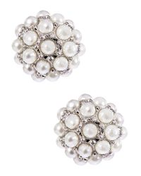 Lord & Taylor - White Pearl Stone Stud Earrings - Lyst