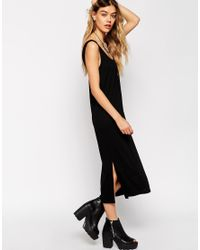 ASOS | Black Vest Midi Dress With Side Splits | Lyst