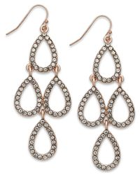 INC International Concepts - Pink Rose Gold-Tone Crystal Teardrop Chandelier Earrings - Lyst