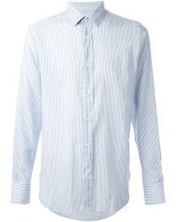 Saint Laurent - Blue Fine Striped Shirt for Men - Lyst