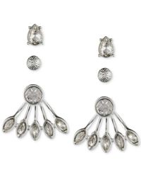 Nine West - Metallic Silver-tone Crystal Trio Jacket Earring Set - Lyst