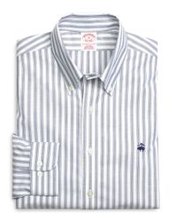 Brooks Brothers - Blue Supima® Cotton Non-iron Regular Fit Herringbone Stripe Oxford Sport Shirt for Men - Lyst