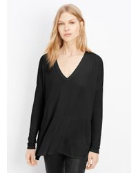 VINCE | Black Luxe Knit V-neck Long Sleeve Tee | Lyst