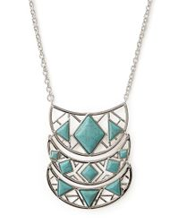 Forever 21 - Blue Long Crescent Pendant Necklace - Lyst