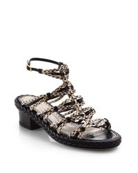 Jason Wu | Strappy Snakeskin Leather Braided Sandals | Lyst