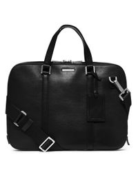 Michael Kors | Black Warren Leather Slim Briefcase for Men | Lyst