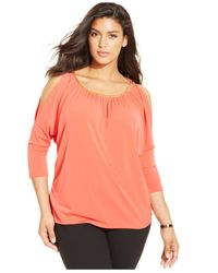 Michael Kors | Pink Michael Plus Size Cold-shoulder Chain-link Top | Lyst