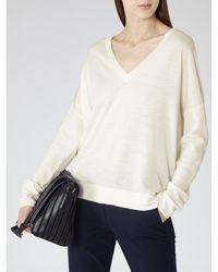 Reiss - White Raya V-neck Jumper - Lyst