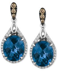 Le Vian | London Blue Topaz (7-7/8 Ct. T.w.) And Diamond (1/3 Ct. T.w.) Earrings In 14k White Gold | Lyst