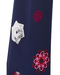 MSGM - Blue Navy Cropped Pleated Pants With Appliqué - Lyst