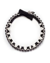 Joomi Lim | Black Crystal Pearl Cotton Braid Necklace | Lyst