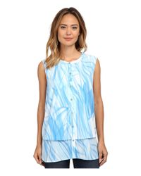 Calvin Klein - Blue Printed Double Layer Button Front - Lyst