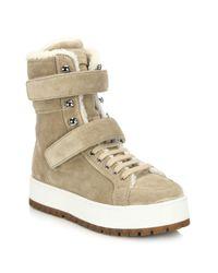 Prada - Brown Suede & Sheepskin Fur Lace-up Boots - Lyst