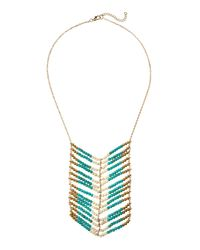 Panacea - Blue Tri-Tone Beaded Chevron Necklace - Lyst
