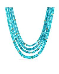 David Yurman - Blue Dy Signature Bead Necklace With Turquoise In 18k Gold - Lyst