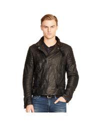 Ralph Lauren Black Label - Black Venture Leather Biker Jacket for Men - Lyst