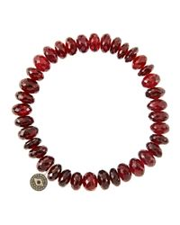 Sydney Evan | Red 8Mm Faceted Garnet Beaded Bracelet With 14K Gold/Diamond Round Evil Eye Charm (Made To Order) | Lyst