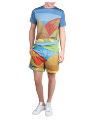 J.W.Anderson - Blue Landscape Printed Cotton Twill Shorts for Men - Lyst